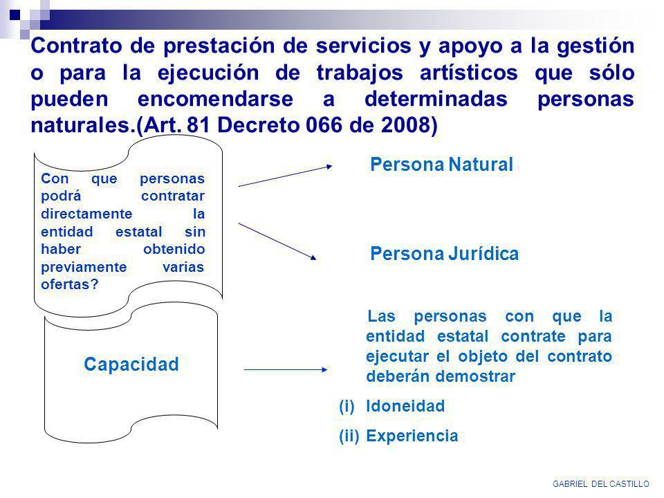 Contrato de prestación de servicios y apoyo a la gestión o para la ejecución de trabajos artísticos que sólo pueden encomendarse a determinadas personas naturales.(Art. 81 Decreto 066 de 2008)