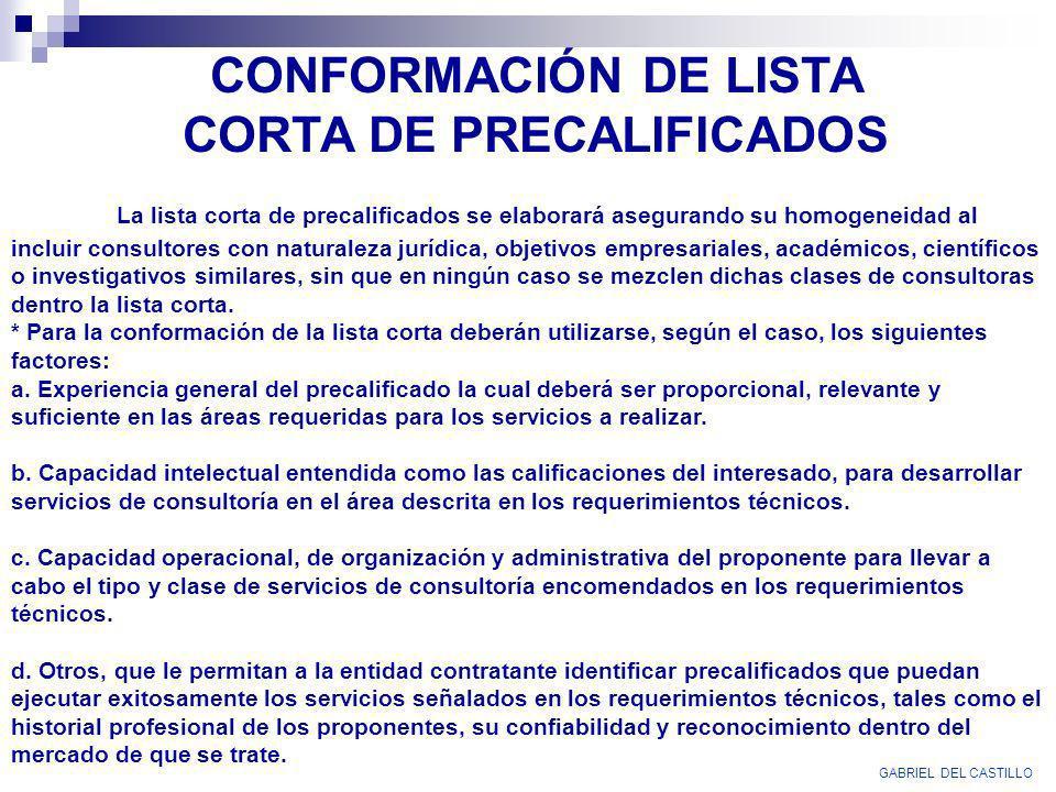 CONFORMACIÓN DE LISTA CORTA DE PRECALIFICADOS
