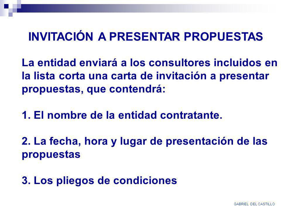 GABRIEL DEL CASTILLO INVITACIÓN A PRESENTAR PROPUESTAS