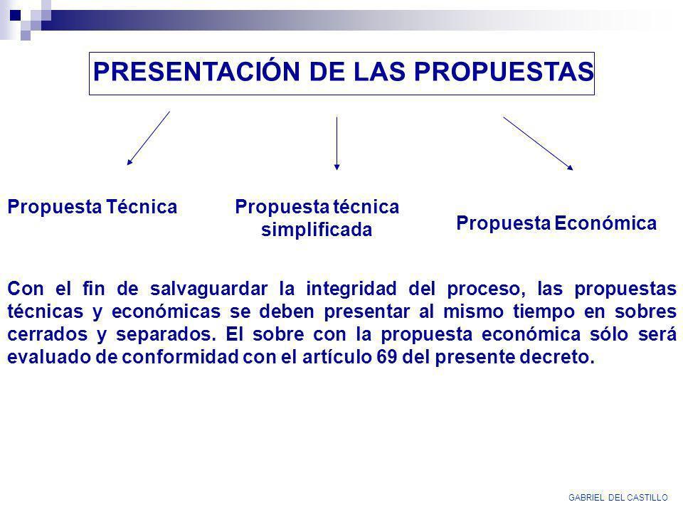 PRESENTACIÓN DE LAS PROPUESTAS Propuesta técnica simplificada