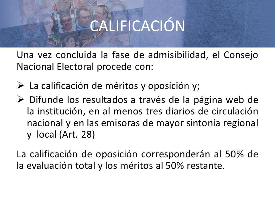 CALIFICACIÓN Una vez concluida la fase de admisibilidad, el Consejo Nacional Electoral procede con: