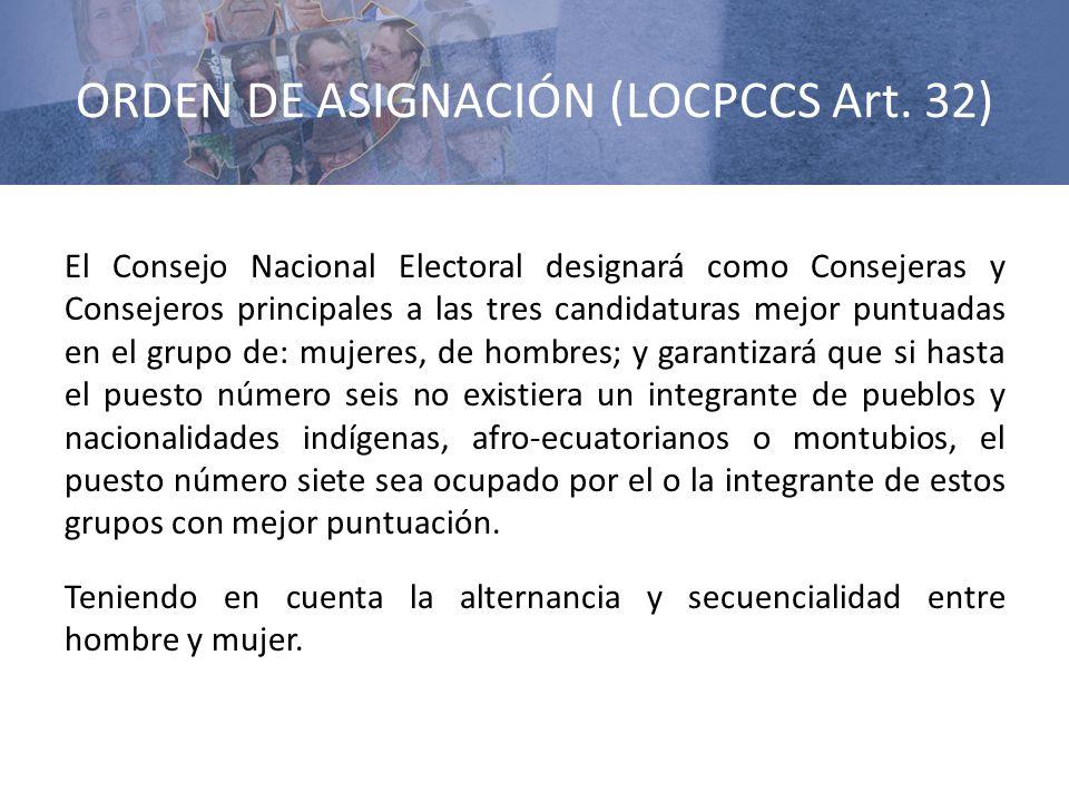 ORDEN DE ASIGNACIÓN (LOCPCCS Art. 32)