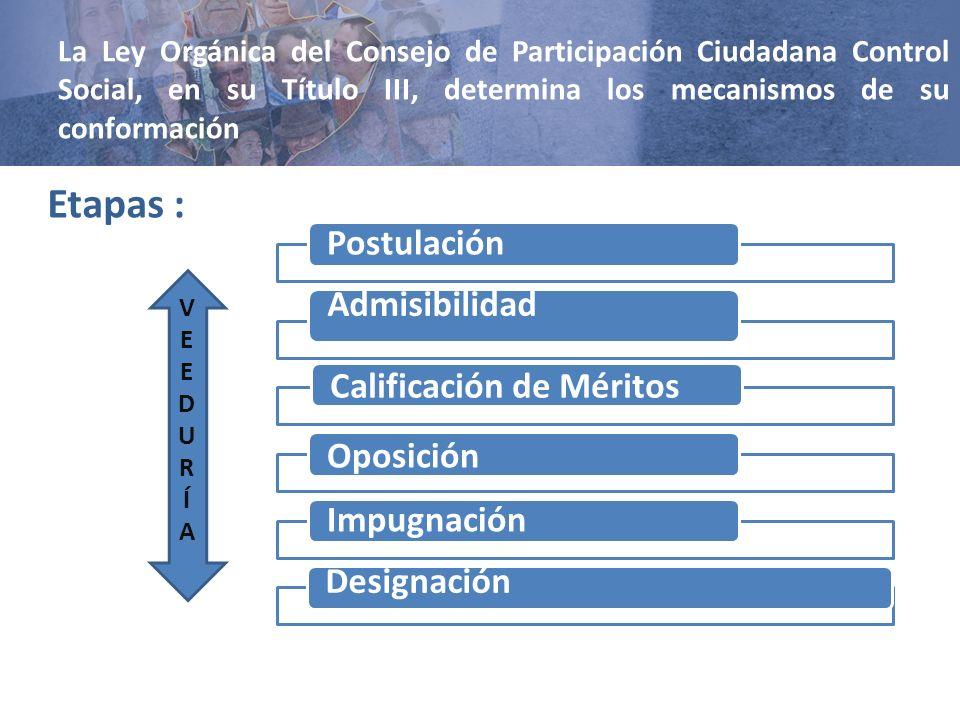 Etapas : Calificación de Méritos Admisibilidad Designación Impugnación