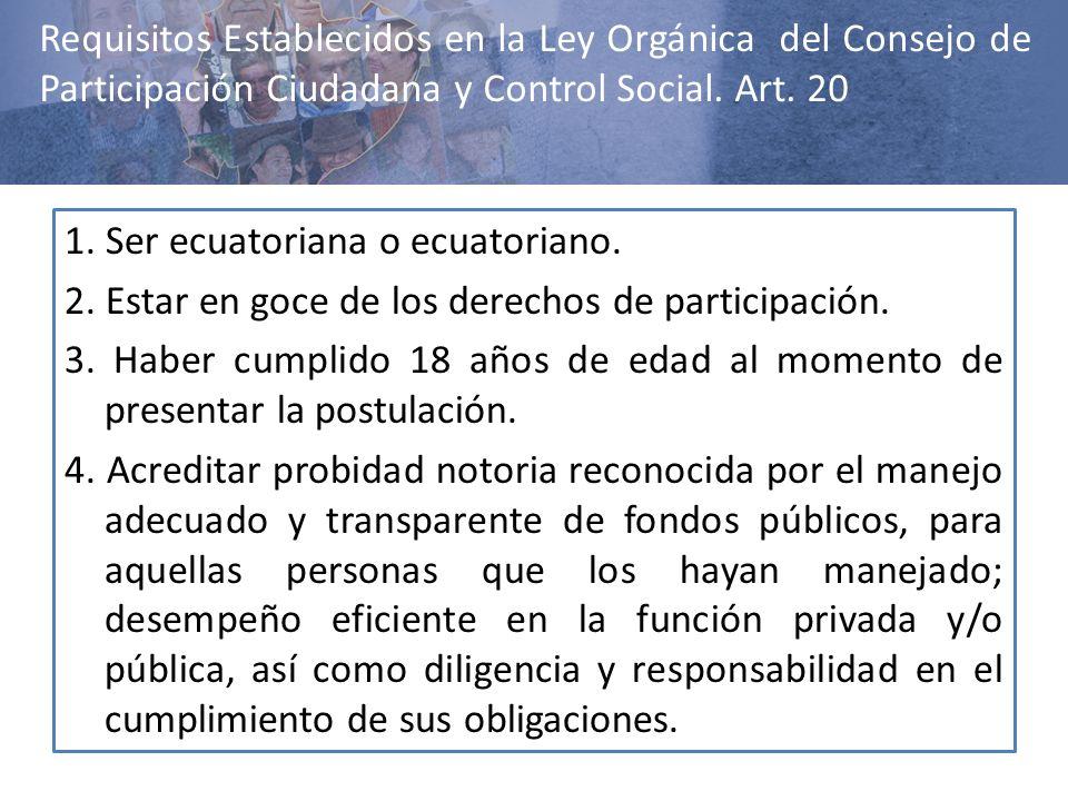 Requisitos Establecidos en la Ley Orgánica del Consejo de Participación Ciudadana y Control Social. Art. 20