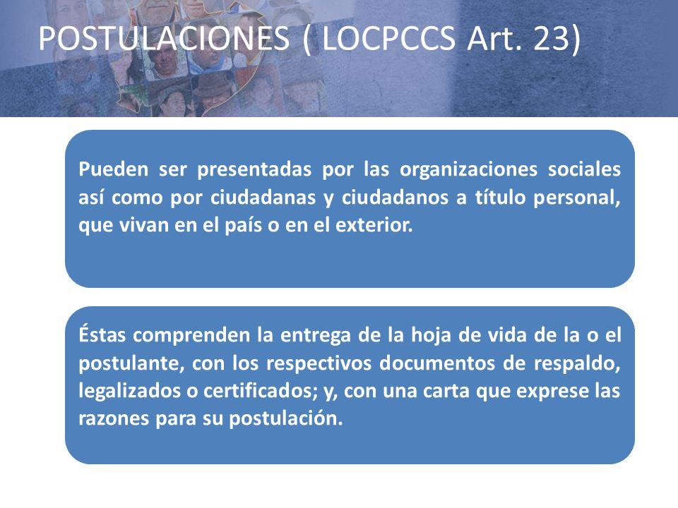 POSTULACIONES ( LOCPCCS Art. 23)