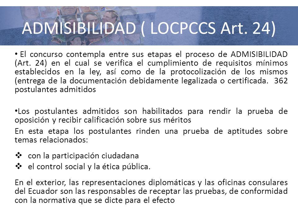 ADMISIBILIDAD ( LOCPCCS Art. 24)