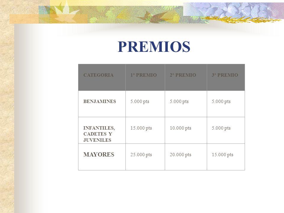 PREMIOS MAYORES CATEGORIA 1º PREMIO 2º PREMIO 3º PREMIO BENJAMINES