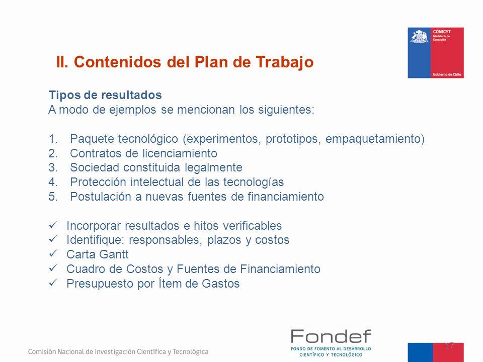 II. Contenidos del Plan de Trabajo