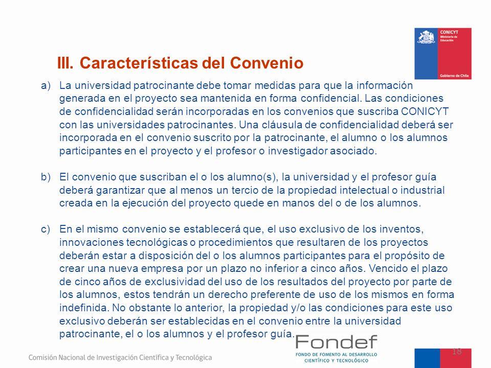 III. Características del Convenio