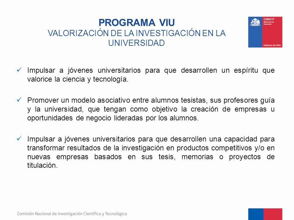 PROGRAMA VIU VALORIZACIÓN DE LA INVESTIGACIÓN EN LA UNIVERSIDAD