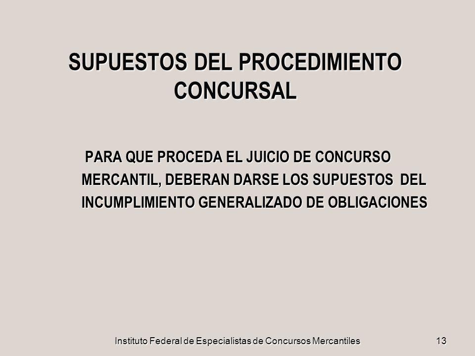 SUPUESTOS DEL PROCEDIMIENTO CONCURSAL
