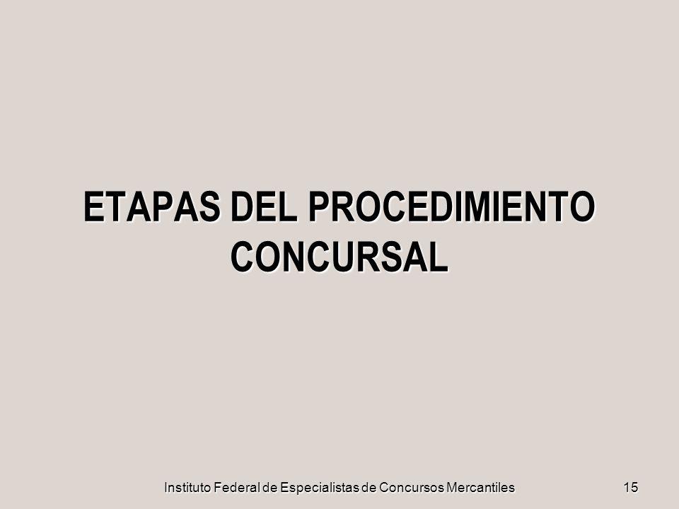 ETAPAS DEL PROCEDIMIENTO CONCURSAL