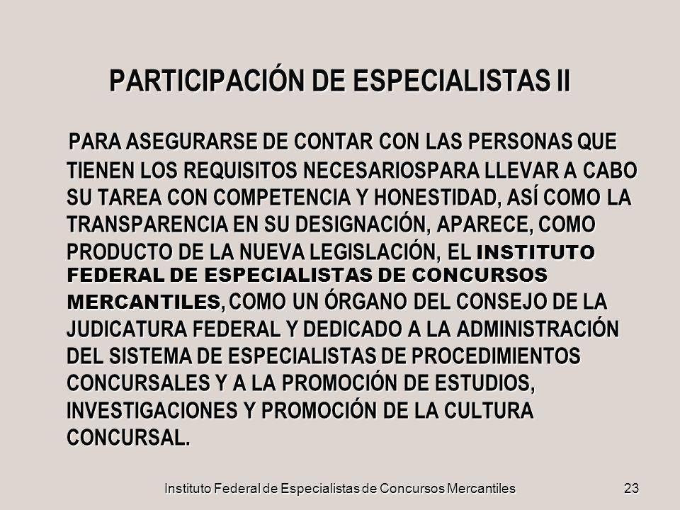 PARTICIPACIÓN DE ESPECIALISTAS II