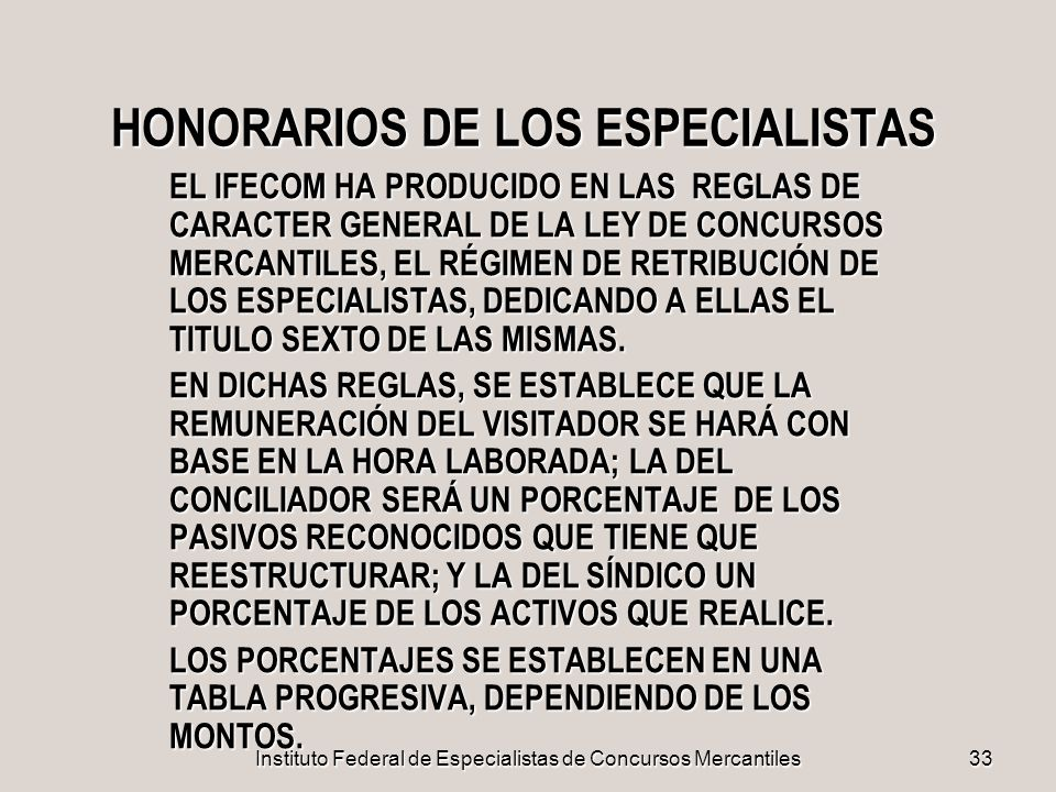 HONORARIOS DE LOS ESPECIALISTAS