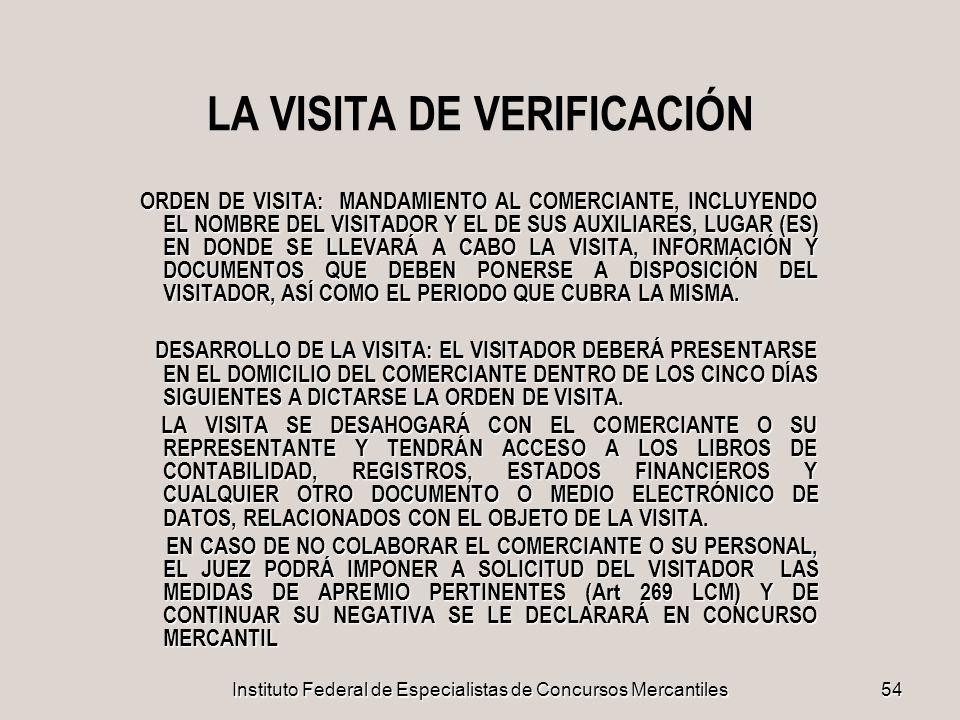 LA VISITA DE VERIFICACIÓN