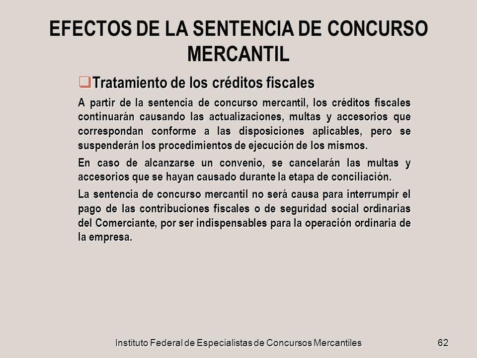 EFECTOS DE LA SENTENCIA DE CONCURSO MERCANTIL