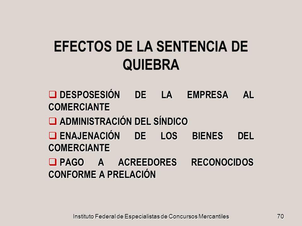 EFECTOS DE LA SENTENCIA DE QUIEBRA