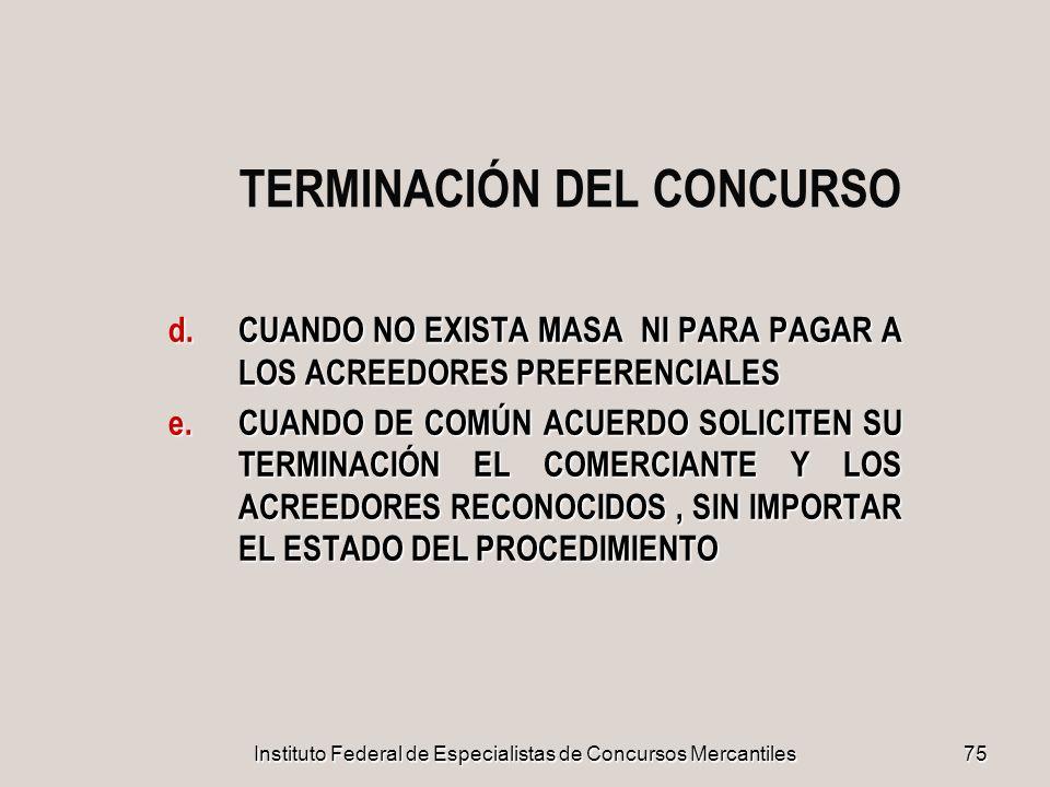 TERMINACIÓN DEL CONCURSO