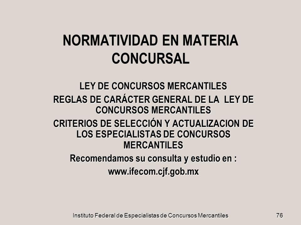NORMATIVIDAD EN MATERIA CONCURSAL