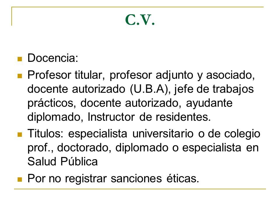 C.V. Docencia: