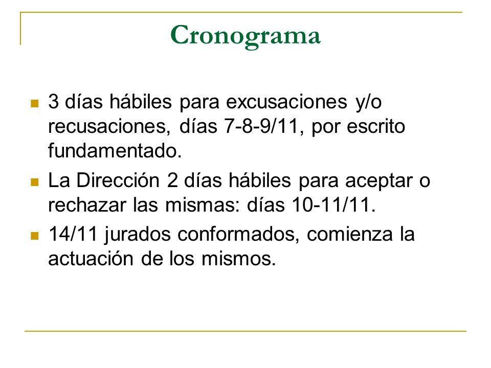 Cronograma 3 días hábiles para excusaciones y/o recusaciones, días 7-8-9/11, por escrito fundamentado.