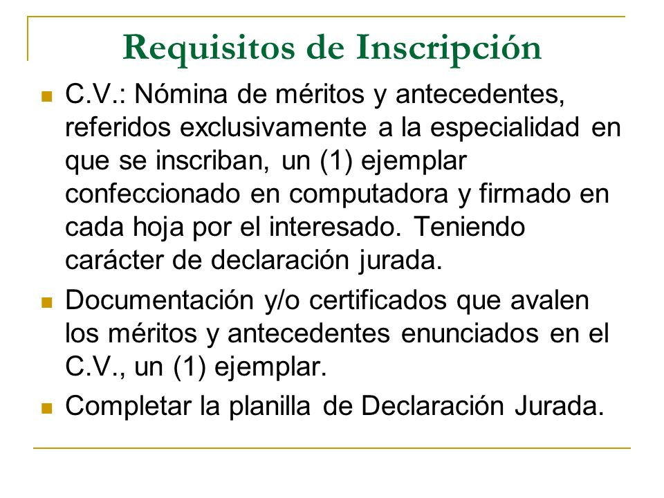 Requisitos de Inscripción