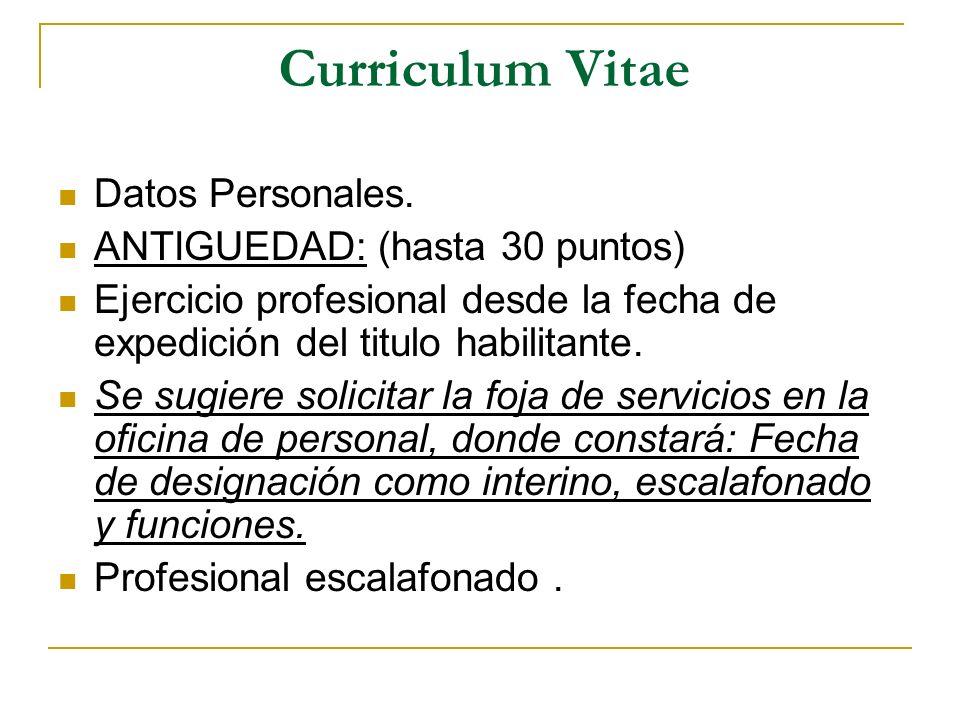 Curriculum Vitae Datos Personales. ANTIGUEDAD: (hasta 30 puntos)