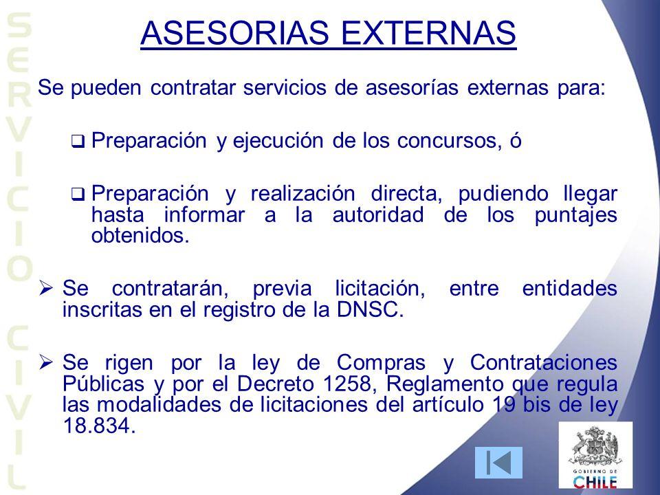 ASESORIAS EXTERNAS Se pueden contratar servicios de asesorías externas para: Preparación y ejecución de los concursos, ó.
