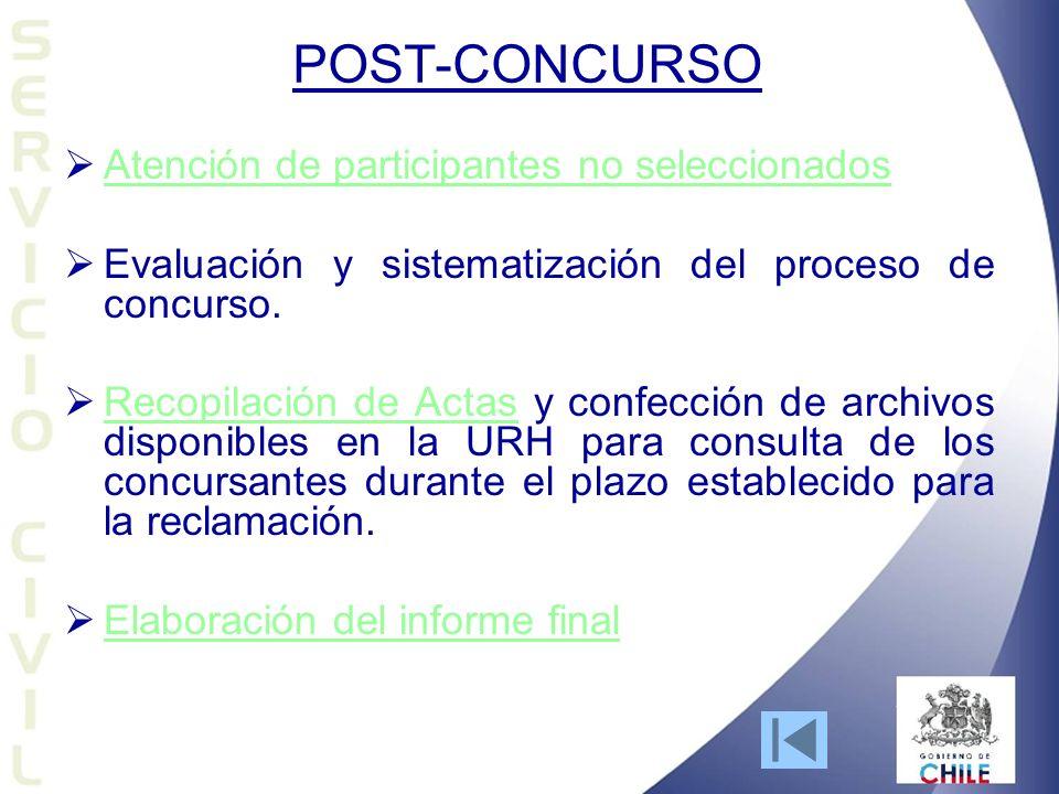 POST-CONCURSO Atención de participantes no seleccionados