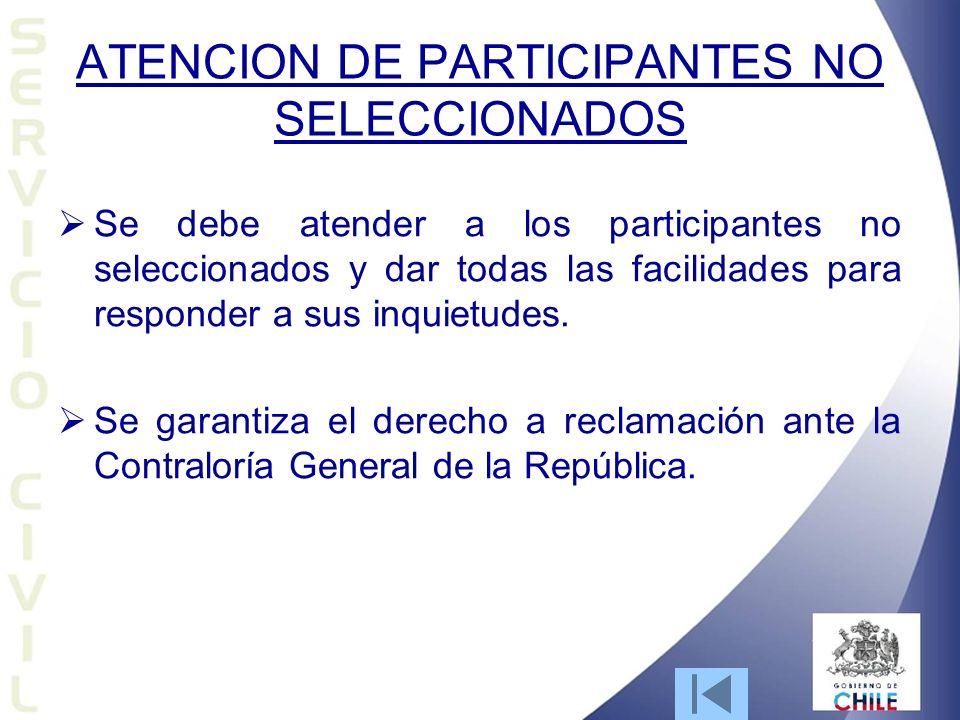 ATENCION DE PARTICIPANTES NO SELECCIONADOS
