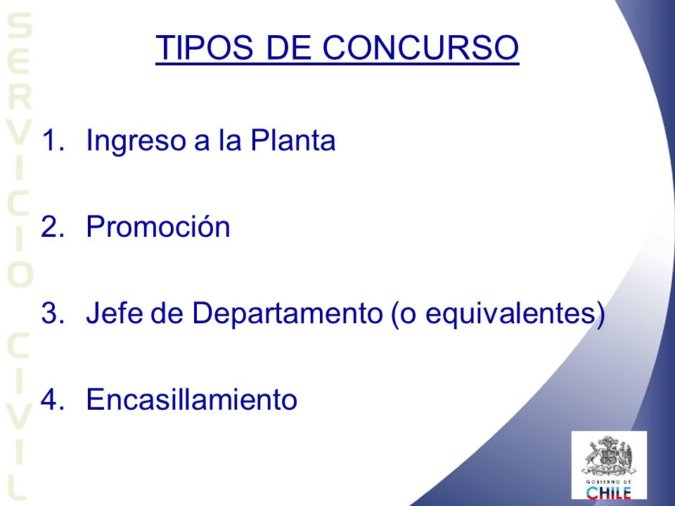 TIPOS DE CONCURSO Ingreso a la Planta Promoción