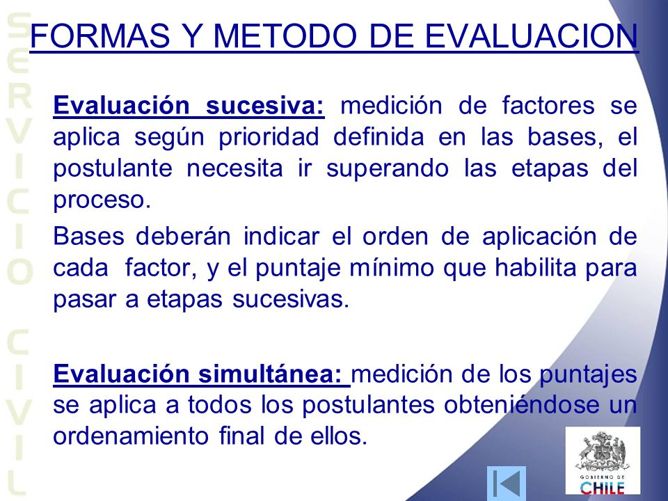 FORMAS Y METODO DE EVALUACION