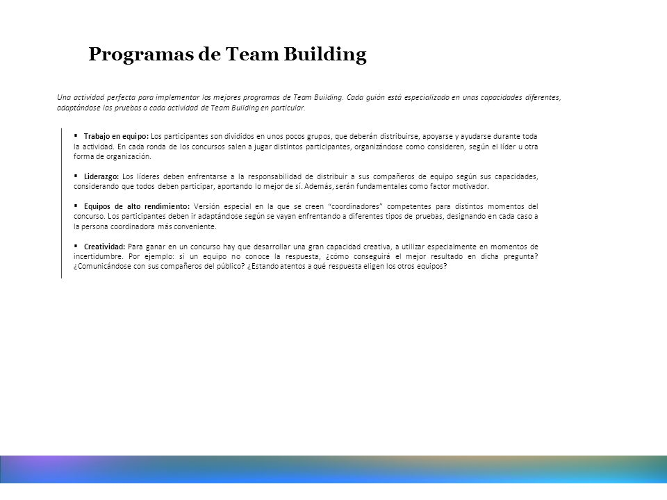 Programas de Team Building