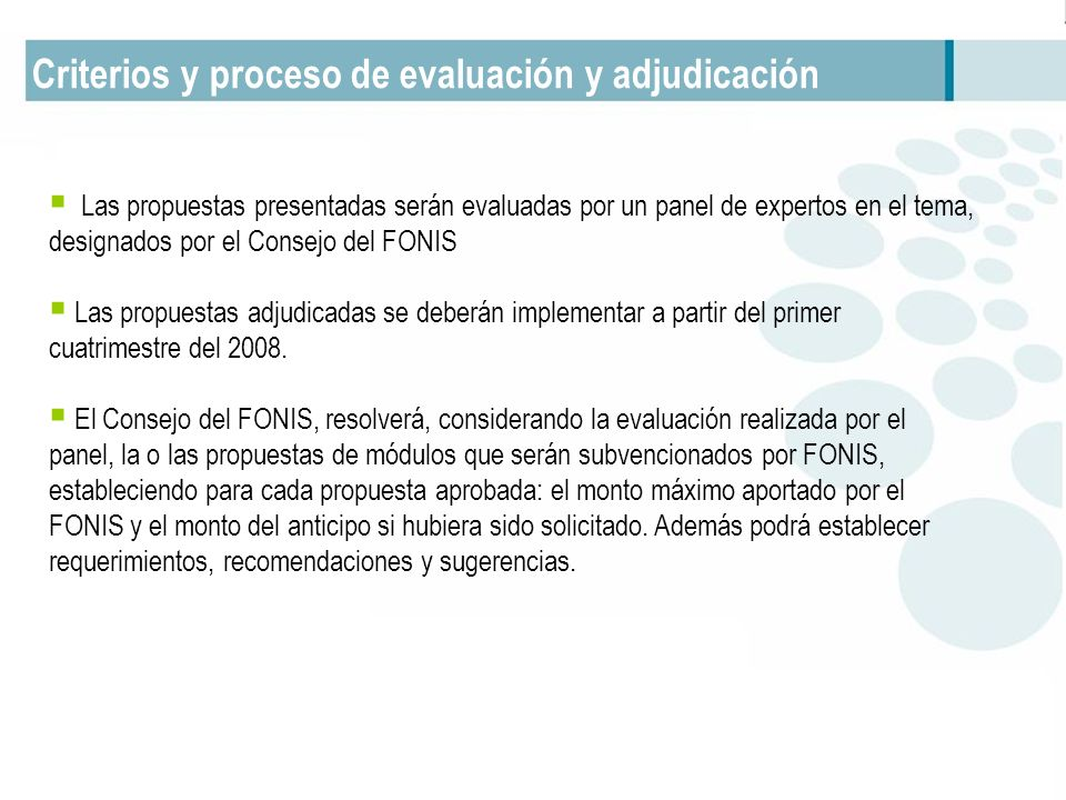 Criterios y proceso de evaluación y adjudicación