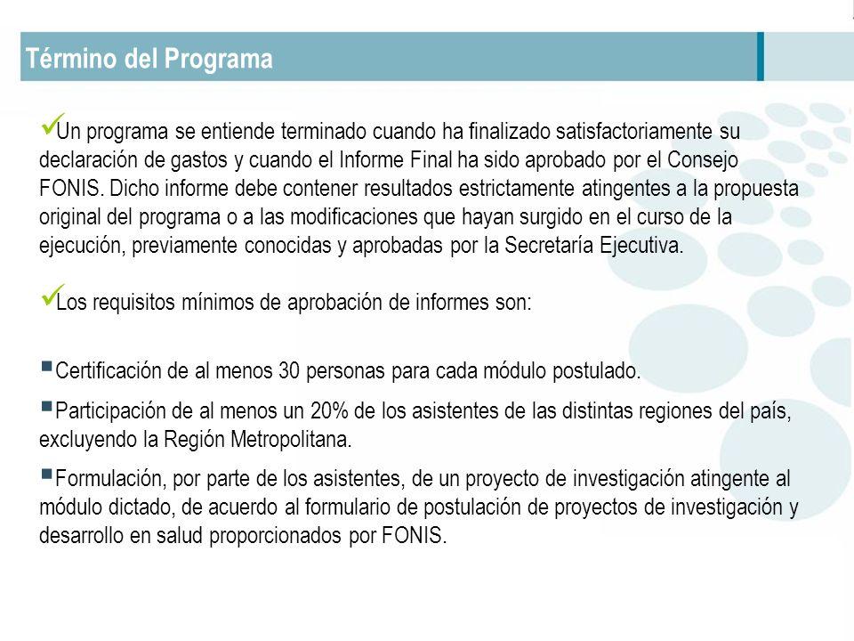 Término del Programa