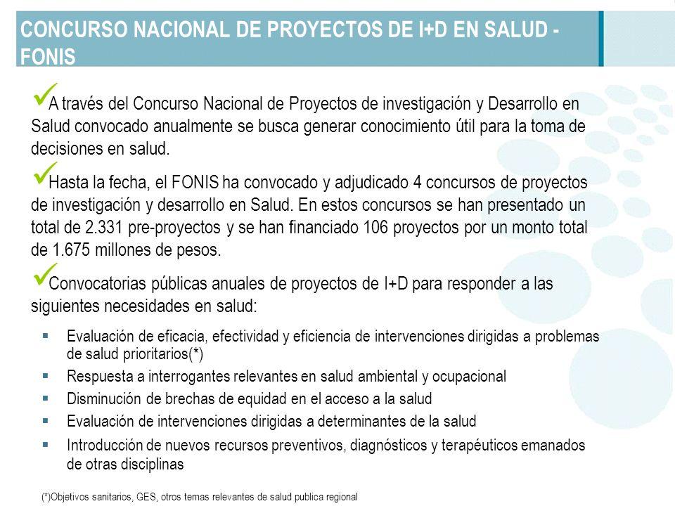 CONCURSO NACIONAL DE PROYECTOS DE I+D EN SALUD - FONIS