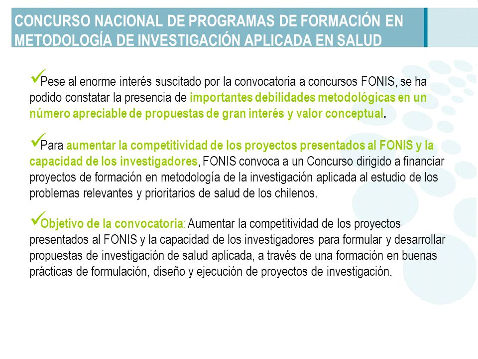 CONCURSO NACIONAL DE PROGRAMAS DE FORMACIÓN EN METODOLOGÍA DE INVESTIGACIÓN APLICADA EN SALUD