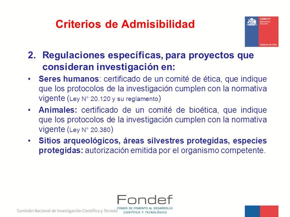Criterios de Admisibilidad