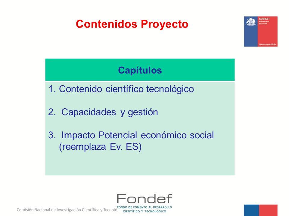 Contenidos Proyecto Capítulos Contenido científico tecnológico
