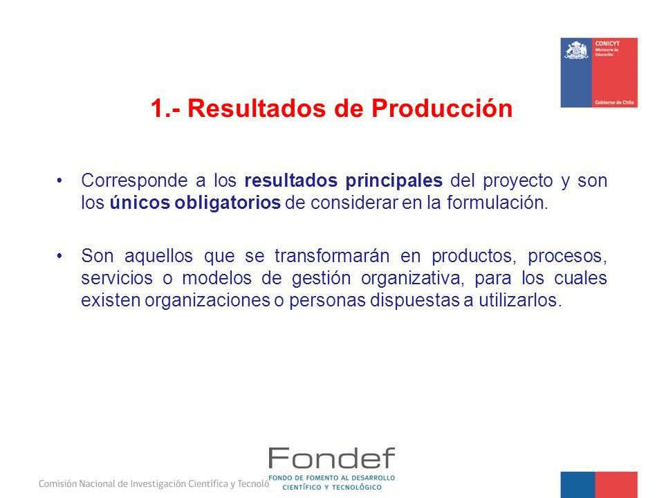 1.- Resultados de Producción