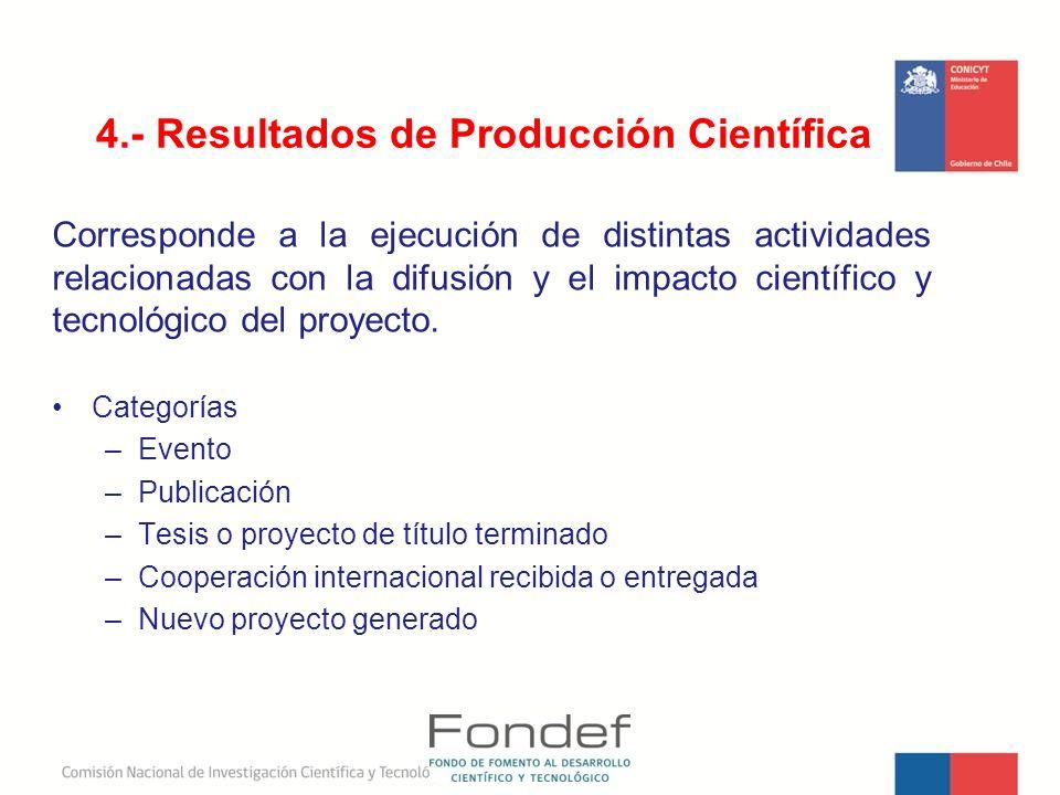 4.- Resultados de Producción Científica