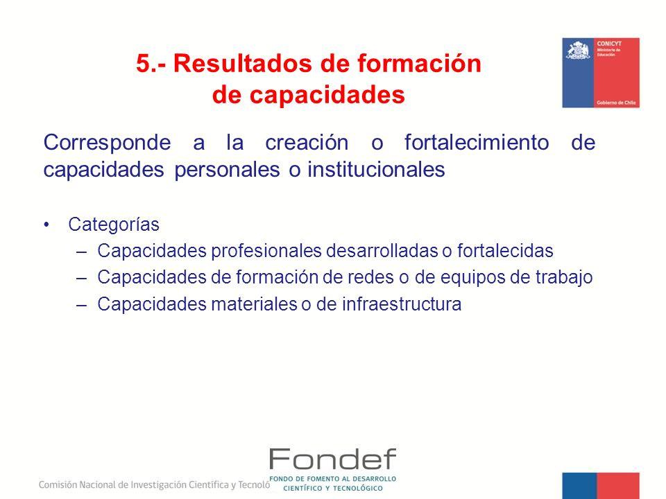 5.- Resultados de formación de capacidades
