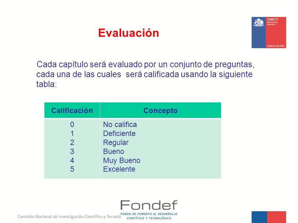 Evaluación Cada capítulo será evaluado por un conjunto de preguntas, cada una de las cuales será calificada usando la siguiente tabla: