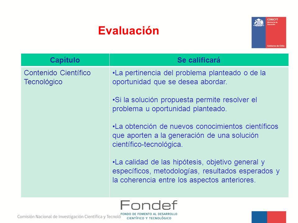 Evaluación Capítulo Se calificará Contenido Científico Tecnológico