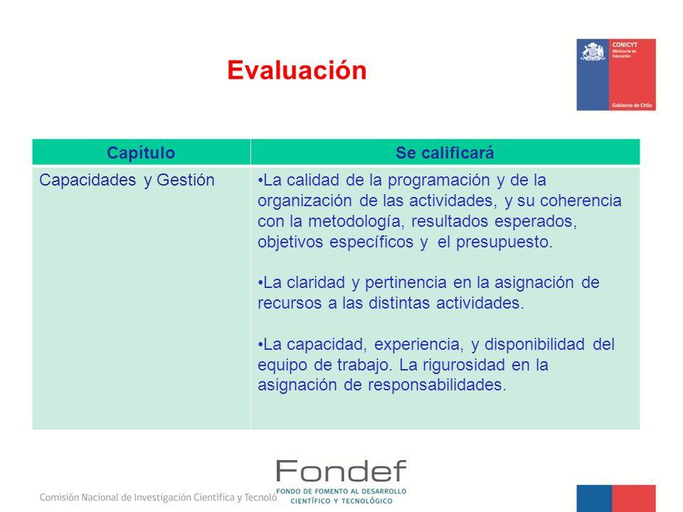 Evaluación Capítulo Se calificará Capacidades y Gestión