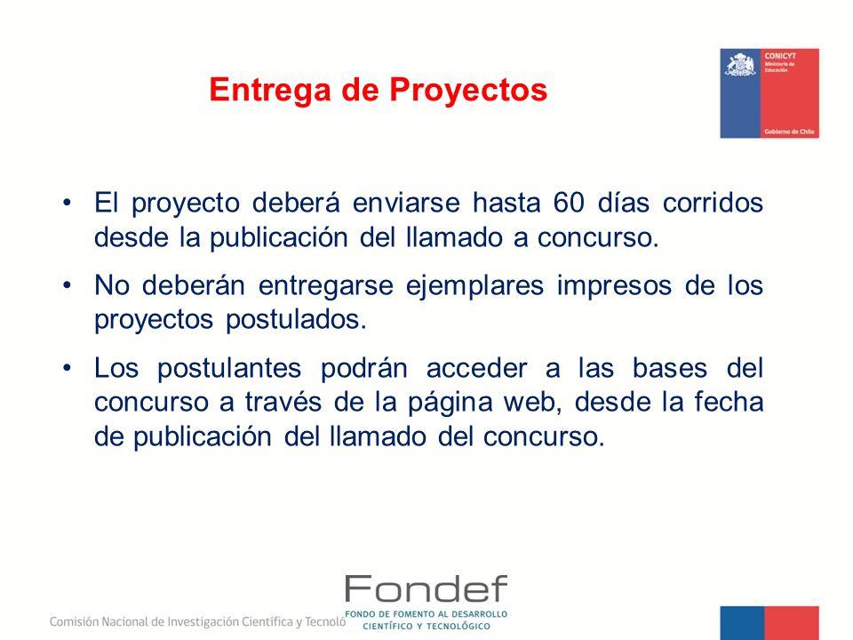 Entrega de Proyectos El proyecto deberá enviarse hasta 60 días corridos desde la publicación del llamado a concurso.