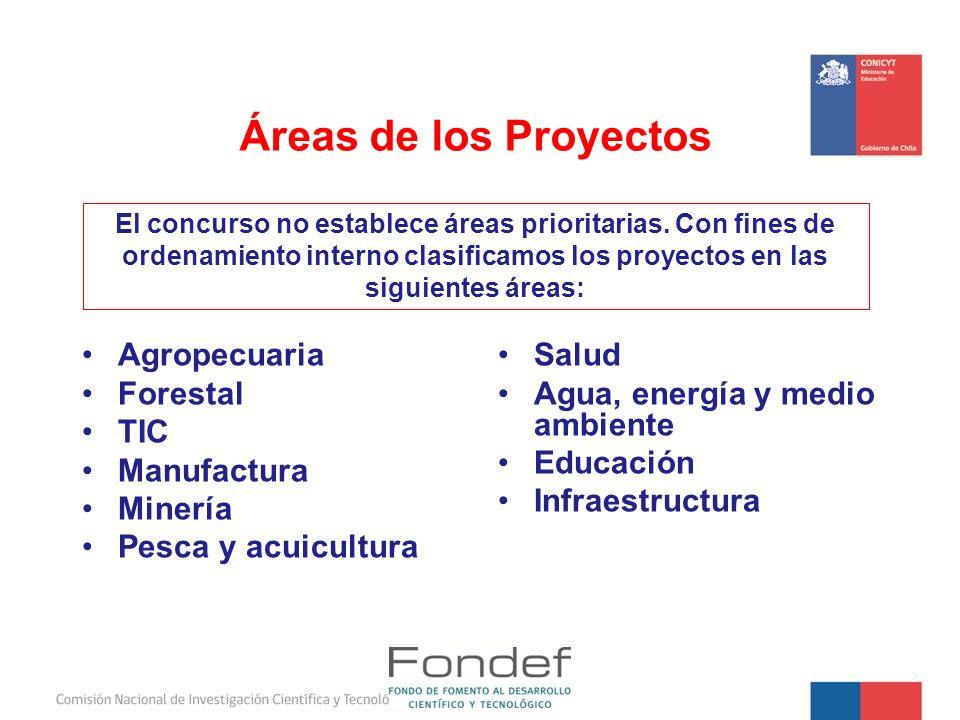 Áreas de los Proyectos Agropecuaria Forestal TIC Manufactura Minería