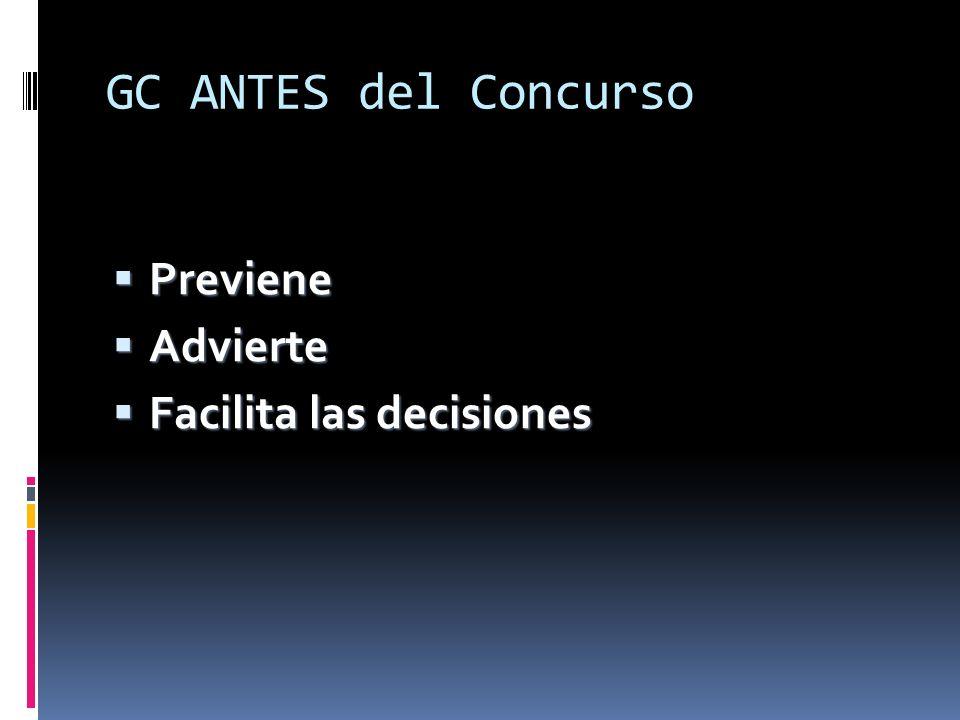 GC ANTES del Concurso Previene Advierte Facilita las decisiones