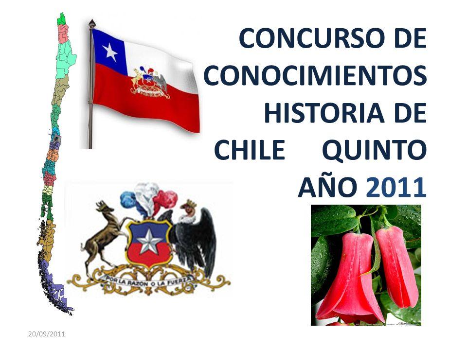 CONCURSO DE CONOCIMIENTOS HISTORIA DE CHILE QUINTO AÑO 2011