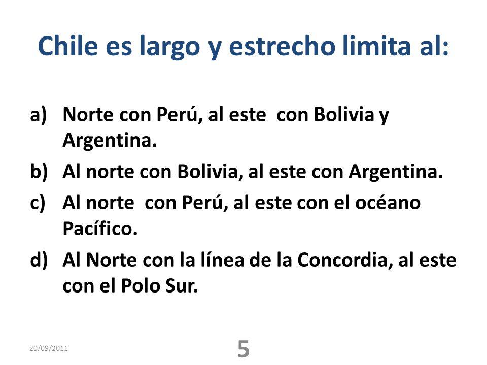 Chile es largo y estrecho limita al: